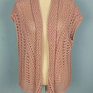 American Eagle knit Rose open cardigan draped vest